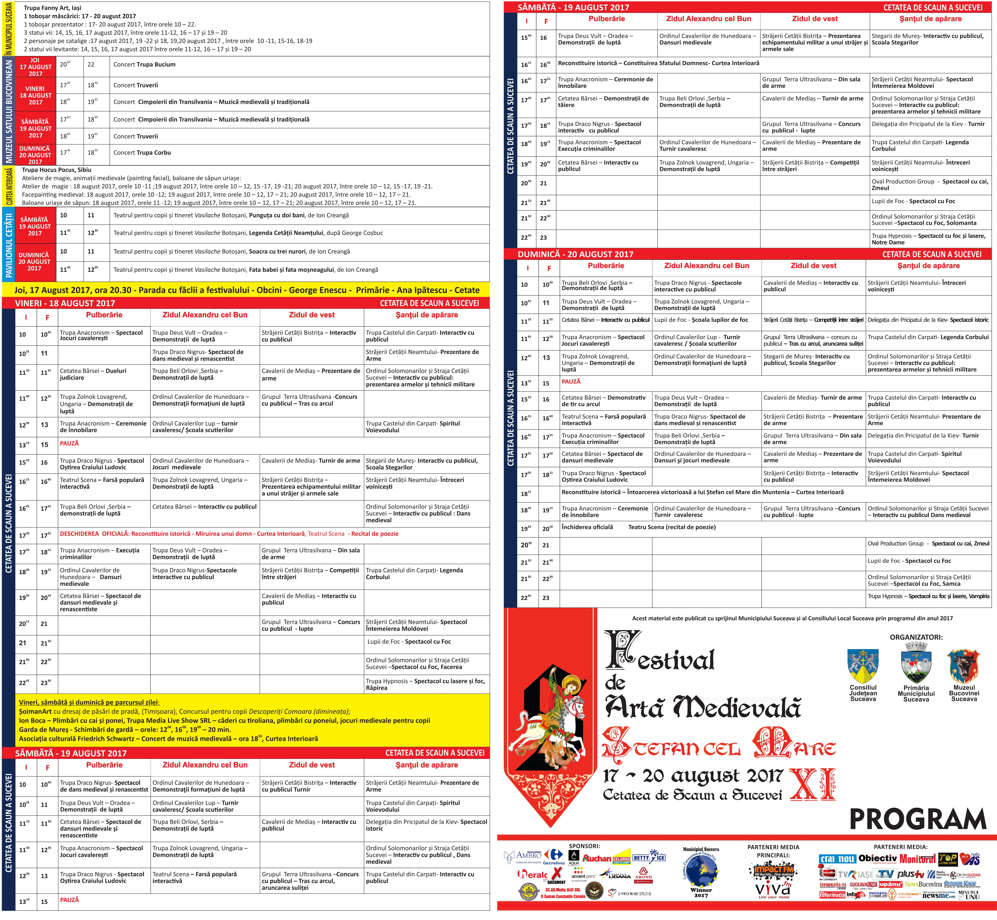program festival medieval Suceava 2017-1