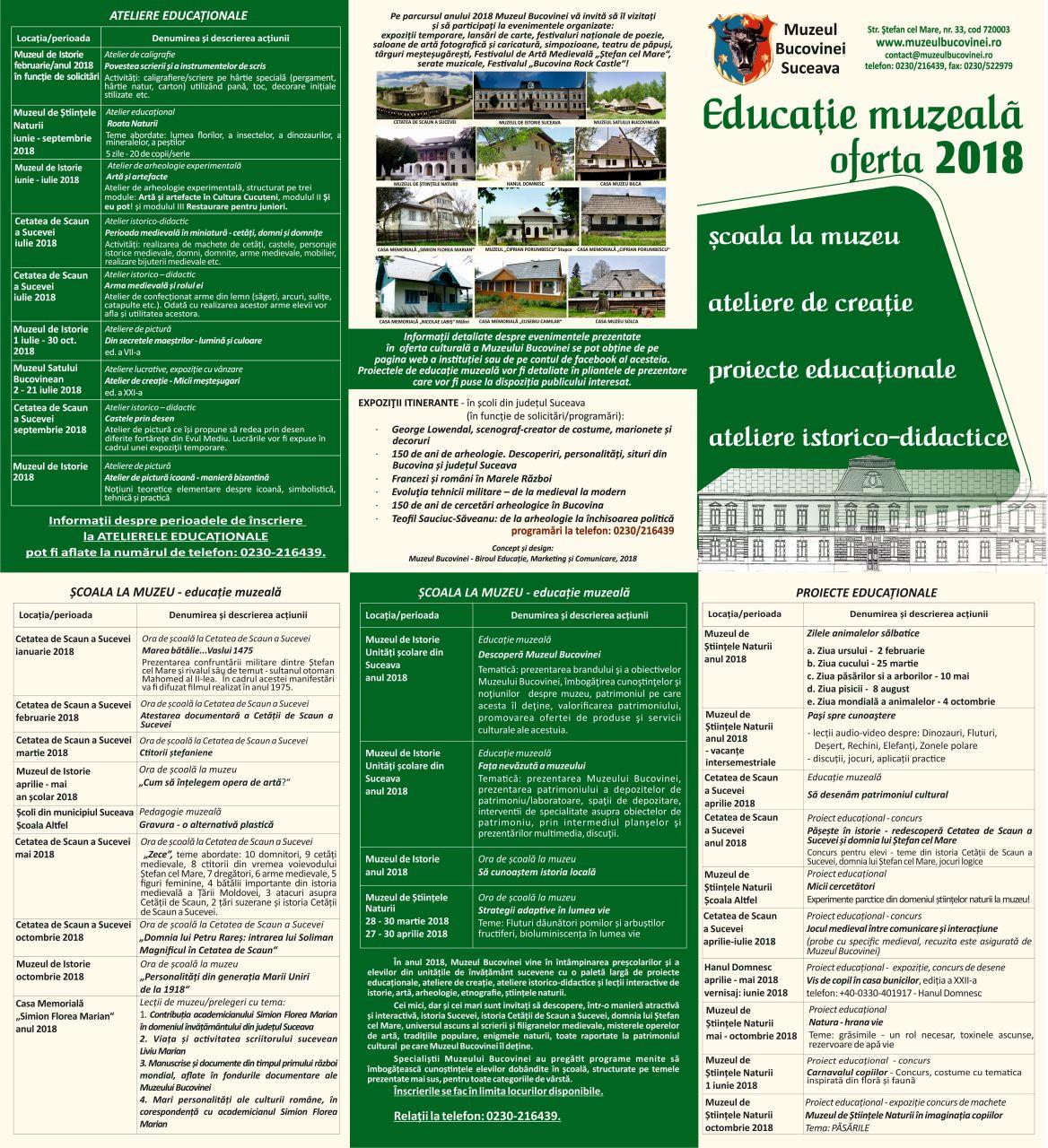 oferta educaţională MB 2018